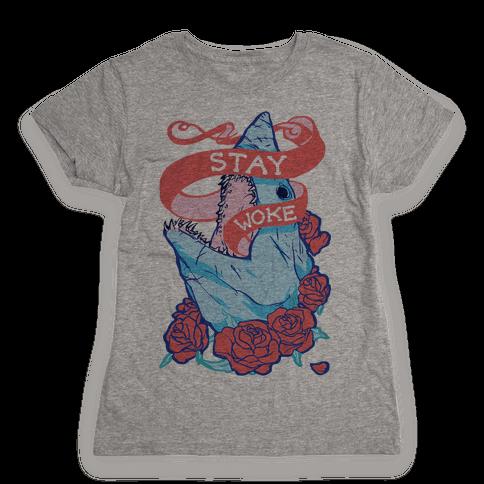 Stay Woke Shark Womens T-Shirt