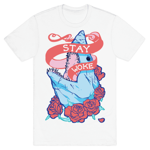 Stay Woke Shark Mens T-Shirt
