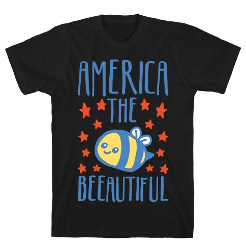America The Beeautiful Bumble Bee 'Merica Parody White Print T-Shirt