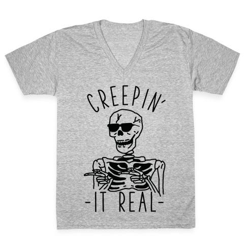 Creepin' It Real Skeleton V-Neck Tee Shirt