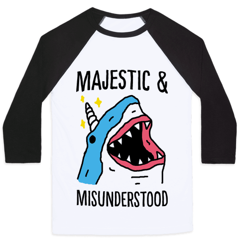 Majestic And Misunderstood Shark Baseball Tee