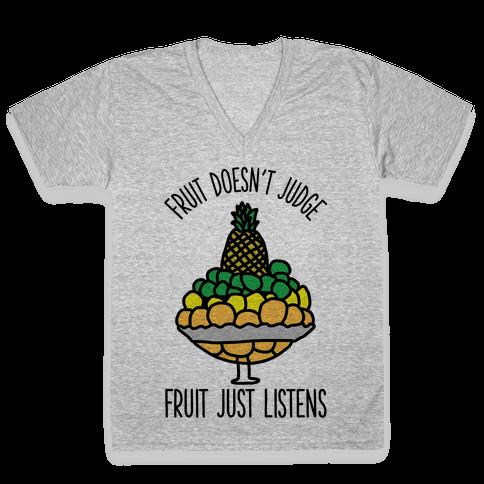 Fruit Doesn't Judge V-Neck Tee Shirt