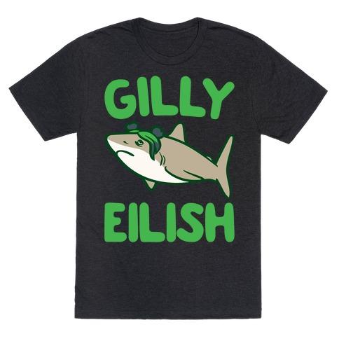 Gilly Eilish Shark Parody White Print T-Shirt