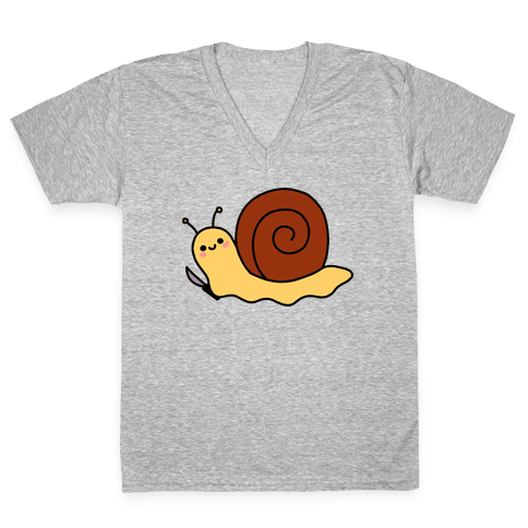 Snail With Knife V-Neck Tee Shirt