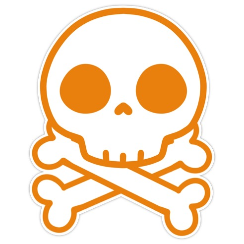 Kawaii Orange Skull Die Cut Sticker