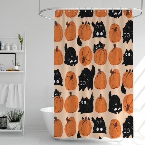 Pumpkin Cats Shower Curtain