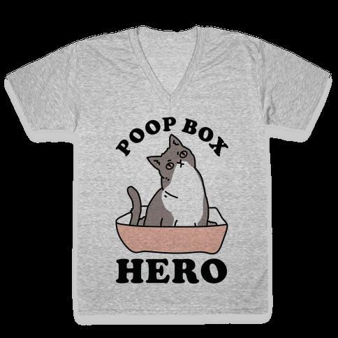Poop Box Hero V-Neck Tee Shirt