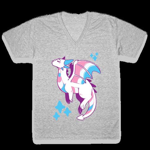 Trans Pride Dragon V-Neck Tee Shirt