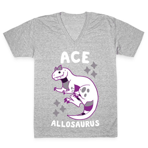 Ace Allosaurus  V-Neck Tee Shirt
