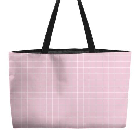 Pink Grid Weekender Tote