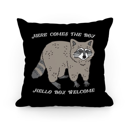 Here Comes The Boy, Hello Boy, Welcome - Raccoon Pillow