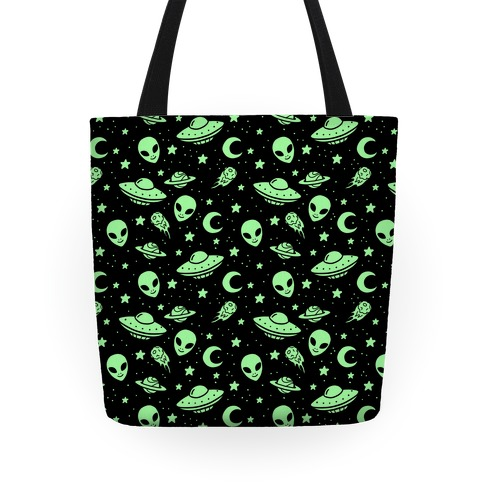 Aliens and UFO Cosmic Space Pattern Tote