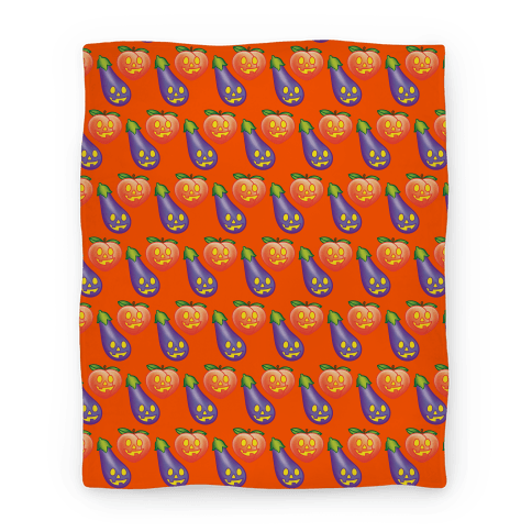 Eggplant and Peach Jack-O-Lantern Pattern Blanket