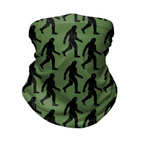 Big Foot Pattern Green Neck Gaiter