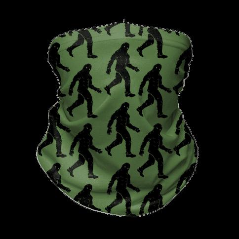 Big Foot Pattern Green Neck Gaiter