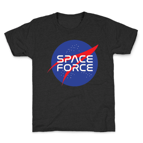 Space Force Parody White Print Kids T-Shirt
