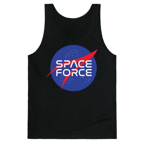 Space Force Parody White Print Tank Top