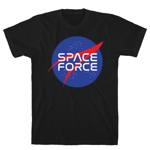 Space Force Parody White Print Mens T-Shirt