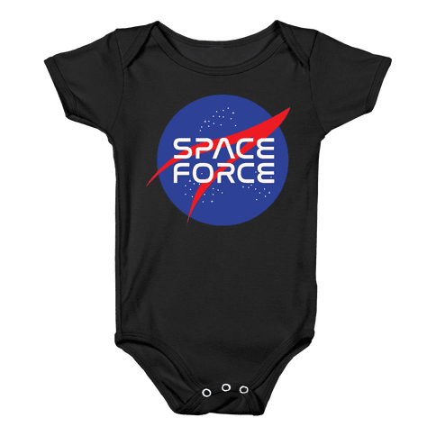 Space Force Parody White Print Baby Onesy