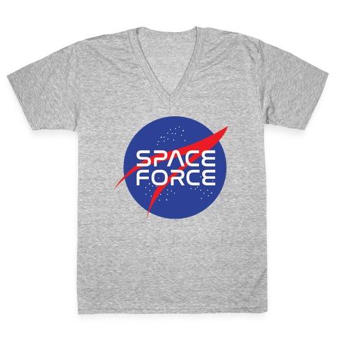 Space Force Parody White Print V-Neck Tee Shirt