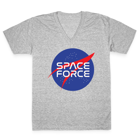 Space Force Parody White Print V-Neck Tee Shirt