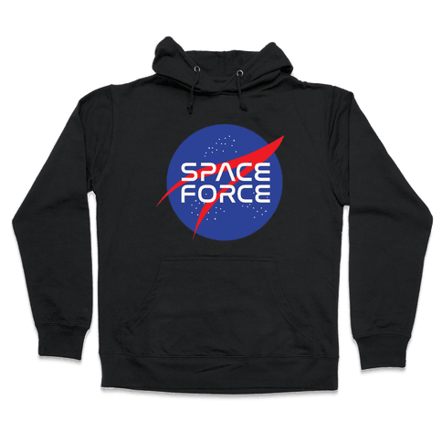Space Force Parody White Print Hooded Sweatshirt