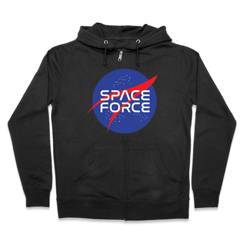 Space Force Parody White Print Zip Hoodie