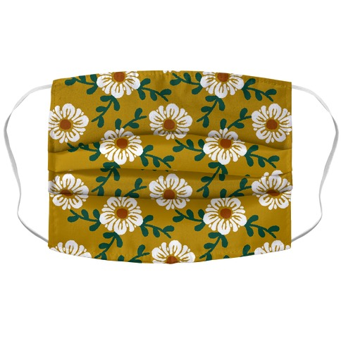 Retro Flowers and Vines Mustard Yellow Accordion Face Mask