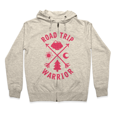 Road Trip Warrior (Pink) Zip Hoodie