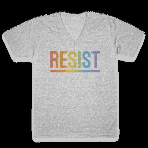 Rainbow Resist V-Neck Tee Shirt