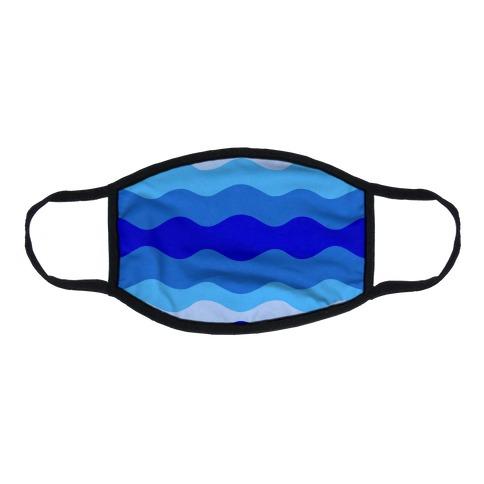 Blue Waves Flat Face Mask
