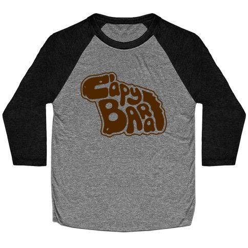 Capybara Font Illustration Baseball Tee