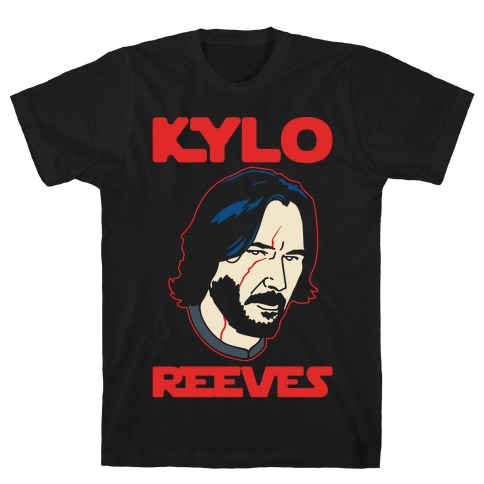 Kylo Reeves Parody White Print T-Shirt
