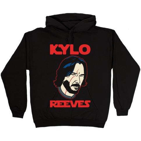 Kylo Reeves Parody White Print Hooded Sweatshirt