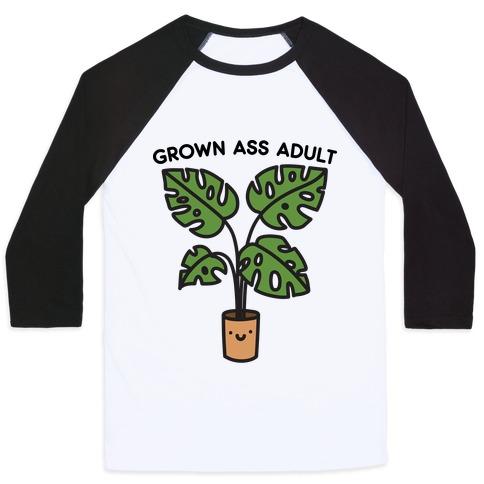 Grown Ass Adult Monstera Baseball Tee