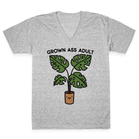 Grown Ass Adult Monstera V-Neck Tee Shirt