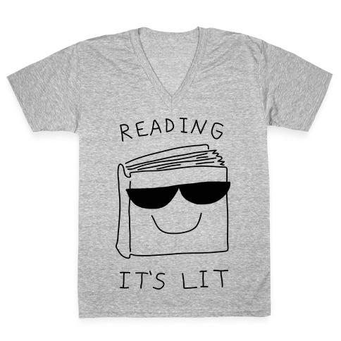 Reading It's Lit V-Neck Tee Shirt