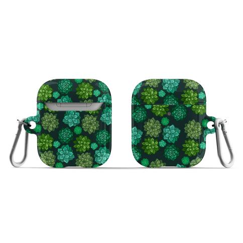 Green Succulent Pattern AirPod Case