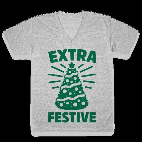 Extra Festive  V-Neck Tee Shirt