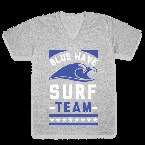 Blue Wave Surf Team V-Neck Tee Shirt