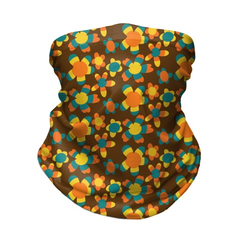 Retro Flower Power Pattern Neck Gaiter