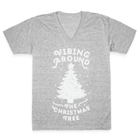 Vibing Around The Christmas Tree V-Neck Tee Shirt