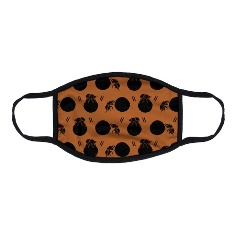 Dung Beetle Pattern Rust Orange Flat Face Mask