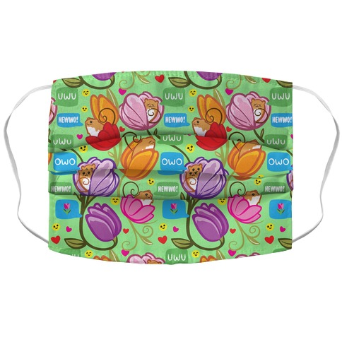 Harvest Mice Emoji Floral Pattern Accordion Face Mask