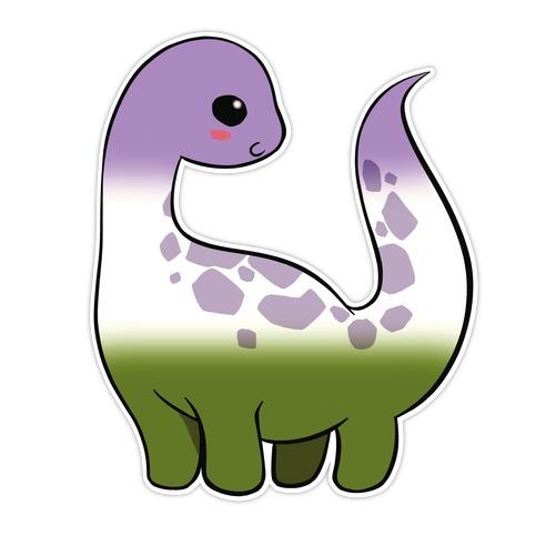 Genderqueer-Dino Die Cut Sticker