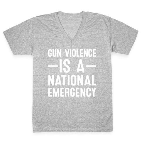 Gun Violence is a National Emergency V-Neck Tee Shirt