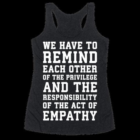 The Act of Empathy White Print Racerback Tank Top
