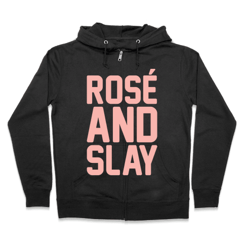Rose' And Slay White Print Zip Hoodie