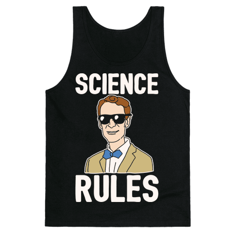 Science Rules White Print Tank Top