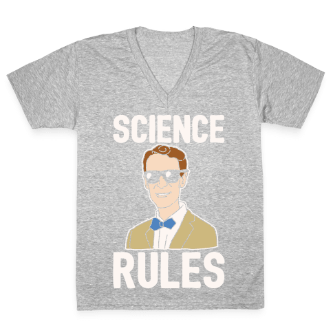 Science Rules White Print V-Neck Tee Shirt